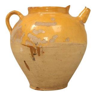 Original Antique Yellow Glazed French Water Jug