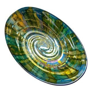 Blue & Green Gold Swirl Bowl