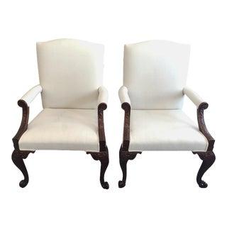 Baker Mahogany Library Chairs - Pair