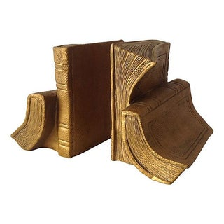 1960s Gilt Plastered Book-Shaped Bookends - A Pair