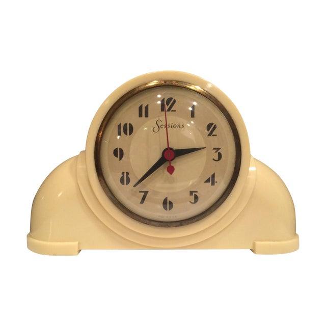 Vintage Sessions Art Deco Style White Clock - Image 1 of 5
