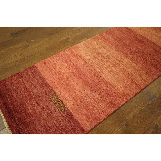 "Orange Striped Gabbeh Runner Rug - 2'10"" x 13'9"" - Image 5 of 10"