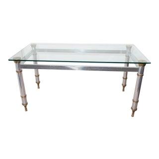 Mid-Century Directoire Style Maison Jansen Glass Top Dining Table