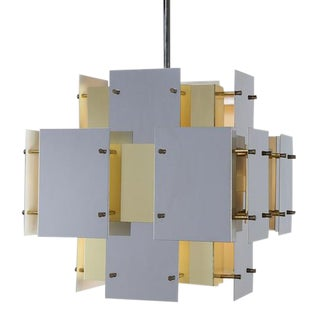 "ROBERT SONNEMAN CHROME AND BRASS ""CITYSCAPE"" CHANDELIER"