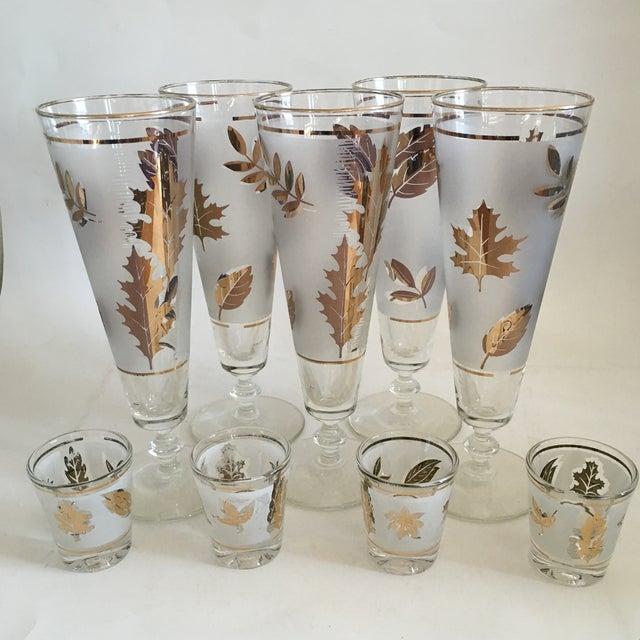 Libbey Starlyte Gold Leaf Glasses - Set of 9 - Image 2 of 7
