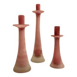 Murano Cenedese Blush Pink Scavo Candleholders - Set of 3