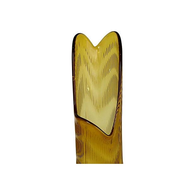 Large Amber Glass Vase - Image 5 of 6