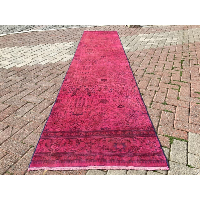 Hot Pink Overdyed Runner Rug - Image 2 of 9