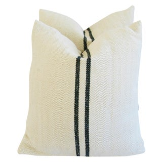 French Grain Sack Down & Feather Pillows - Pair