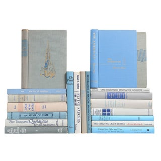 Mid-Century Misty Blue Books- Set of 20