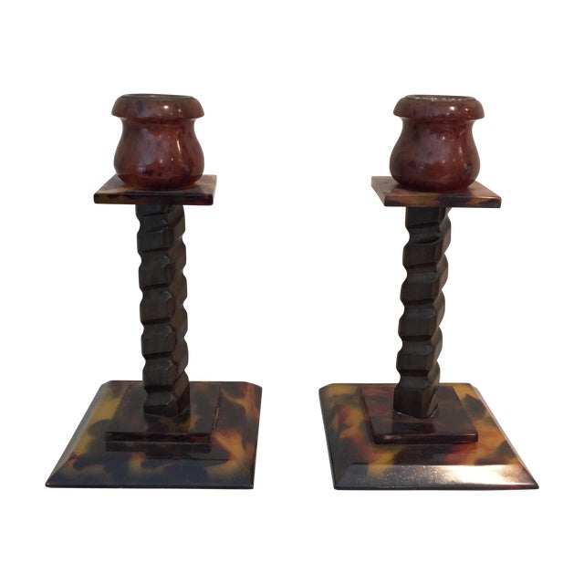 Tortoise Shell Candlesticks- a Pair - Image 1 of 6