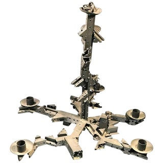 ABSTRACT BRUTALIST INDUSTRIAL METAL FIVE- ARM CHANDELIER IN MANNER OF PAUL EVANS