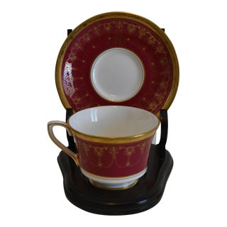 Royal Worcester Ornate Red With Handpainted Gold Décor Footed Cup and Saucer Set With Mahogany Wooden Stand - 3 Pc