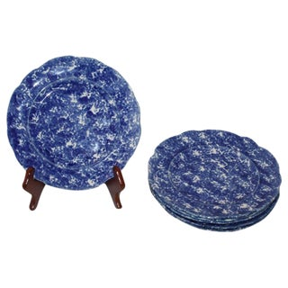 Rare Set of Six Matching 19th Century Sponge Ware Dinner Plates