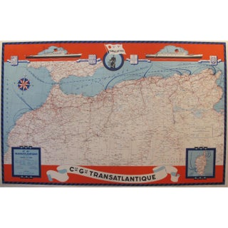 1950 Original French Maritime Map, North Africa