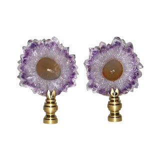 Amethyst Slice & Brass Finials - A Pair