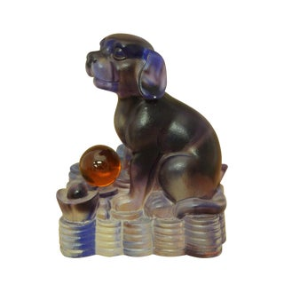 Chinese Liuli Crystal Glass Pate-de-verr Zodiac Dog Sitting On Pool Of Money Statue