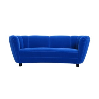Danish Deco Blue Mohair Settee