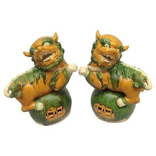 Chinese Guardian Temple Foo Dogs - A Pair
