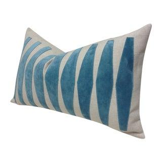 Custom Made Pillow with Aqua Velvet Appliqué