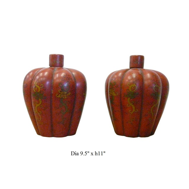 Chinese Red Orange Lacquer Lidded Containers -Pair - Image 6 of 6