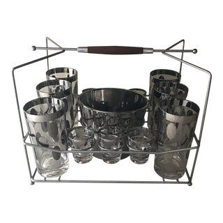 Mid-Century Bar Set and Caddy