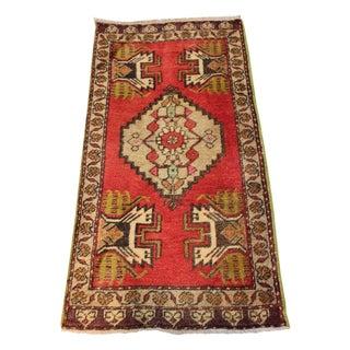 "Vintage Anatolian Doormat Rug - 1'6""x3'2"""