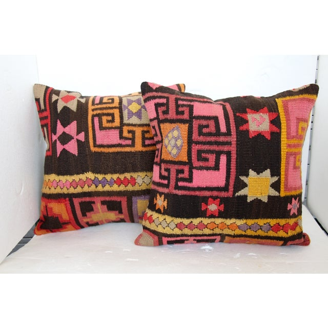 Pink Turkish Kilim Cushions - Pair - Image 2 of 6