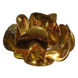 "Michel Armand Rare Lit Table Sculpture in Solid Bronze, model ""Fleur d'Or"", France circa 1979"