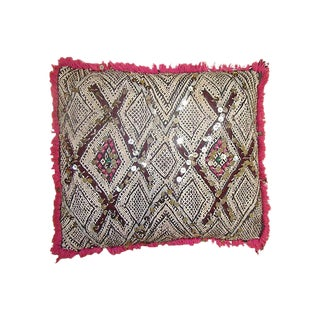 Moroccan Diamonds & Sequins Pink Pillow Cover