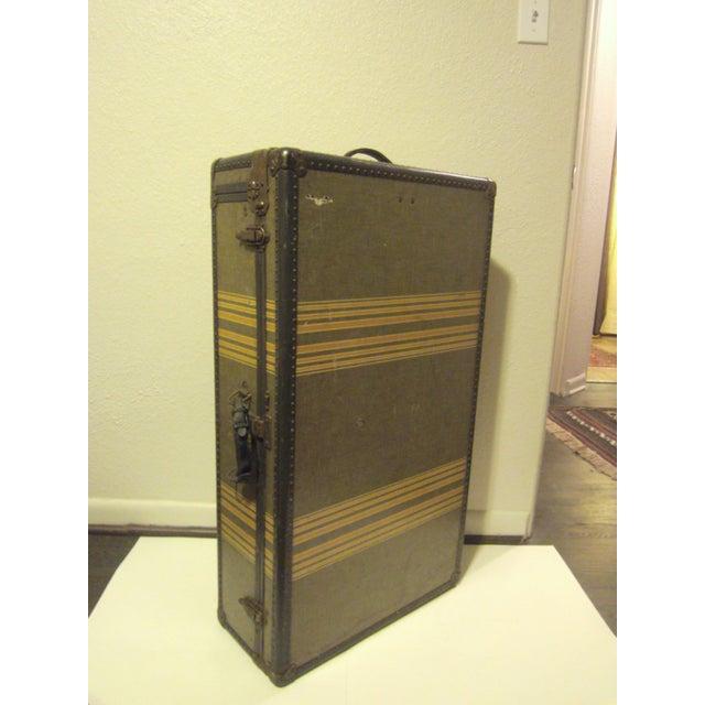 Vintage 1930s Petite Tweed Steamer Trunk - Image 5 of 10