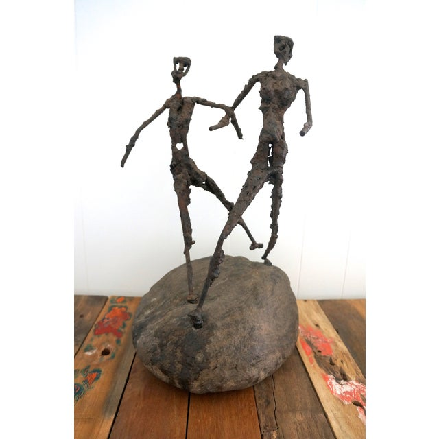 Brutalist Giacometti Metal And Stone Sculpture - Image 3 of 5
