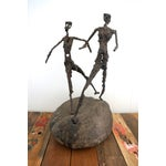 Image of Brutalist Giacometti Metal And Stone Sculpture
