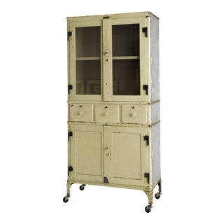 Antique Steel Medical Cabinet