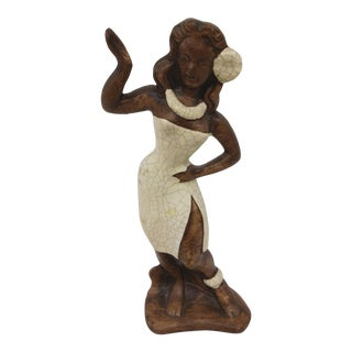 Mid Century Ceramic Hawaiian Lady Figurine