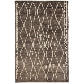 Aara Rugs Inc. Hand Knotted Moroccan Rug - 4′2″ × 6′