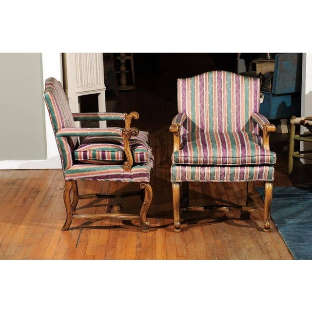 Striped Italian Bergere Chairs - A Pair - Image 2 of 6