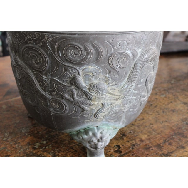 Heavy Bronze Asian Pot with Claw Feet - Image 3 of 4