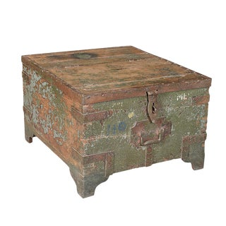 Antique Green Painted Trunk