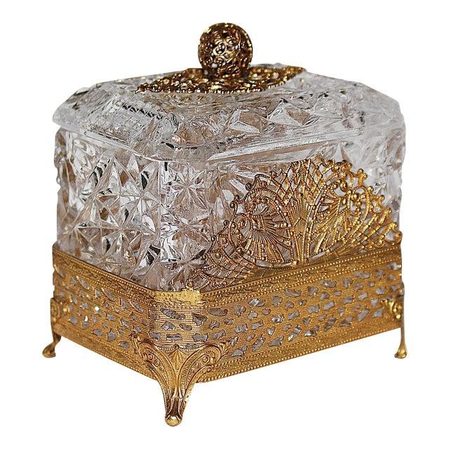 Hollywood Regency Glass Vanity Box - Image 1 of 7