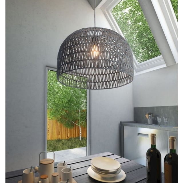 Gray Crocheted Paradiso Pendant Lamp - Image 3 of 3