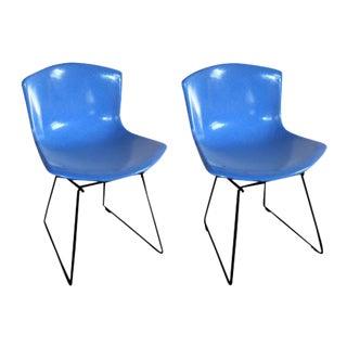 Blue Bertoia Fiberglass Chairs - A Pair