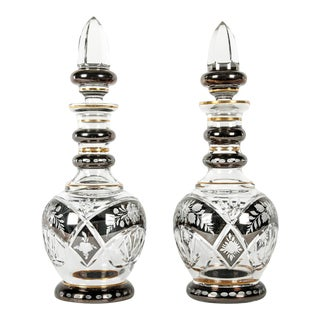 Vintage Cut Crystal Etched Decanters - A Pair