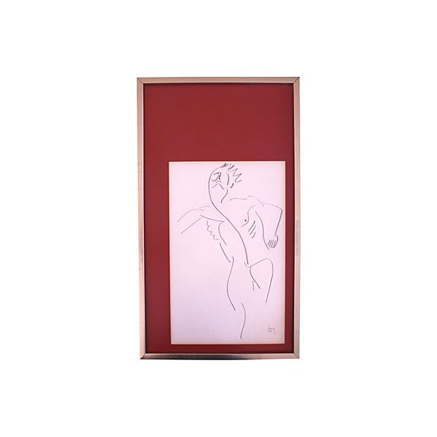 1977 Untitled Abstract Drawing of Nude Male - Image 1 of 5