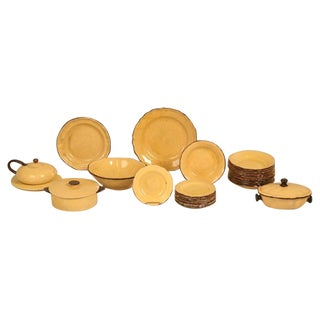 """28 pc.Collection of """"Dieulefit"""" Provencal French Yellowware att to Roger Mourre"""