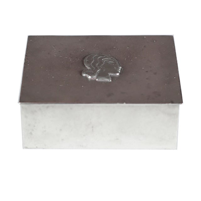 Midcentury Danish High Relief Pewter Box - Image 2 of 4