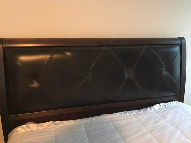bassett dark walnut leather headboard queen bed  chairish, Headboard designs