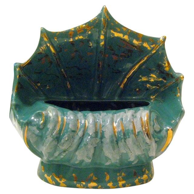 Turquoise Ceramic Shell Shape Table Lamp - Image 1 of 6