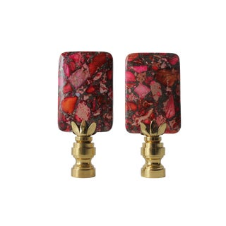 Sea Sediment Red Lamp Finials - A Pair