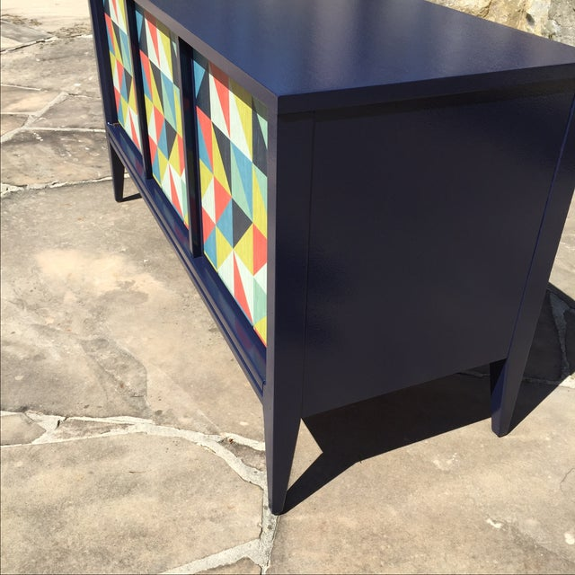 mid century modern geometric credenza tv stand chairish. Black Bedroom Furniture Sets. Home Design Ideas